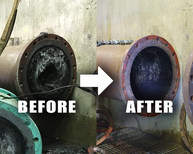 Wastewater Lift Station Struvite Removal Case Study. Before/After image of a wastewater pipe with heavy struvite buildup treated with RYDLYME Biodegradable Descaler.