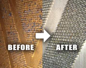 2200MW Power Plant Condenser Case Study. Before/After Image of a power plant condenser where RYDLYME was used to clean up.