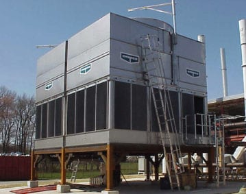 Cooling Tower Blowdown Line Cleaning Case Study. Image of a cooling tower ready for cleaning.