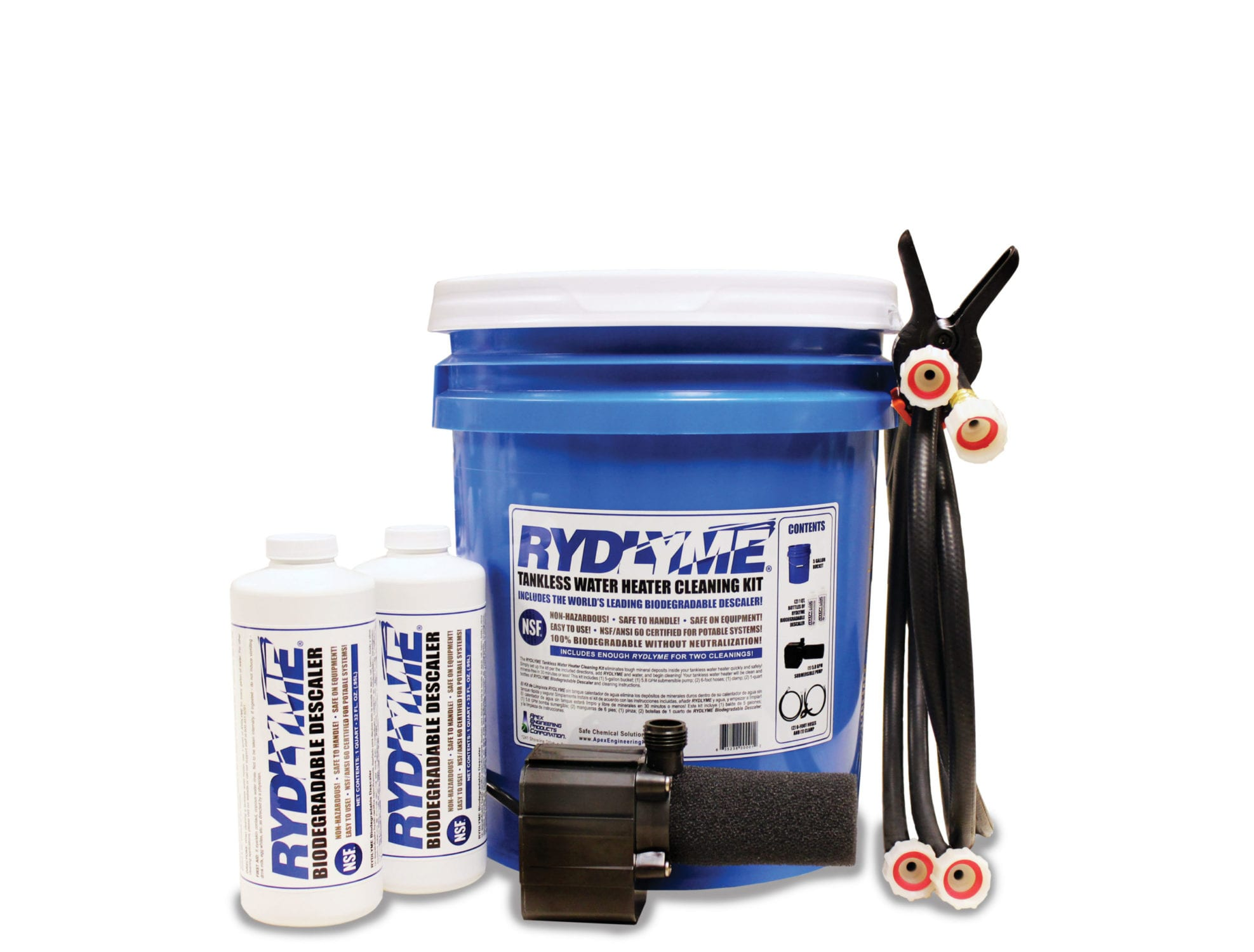 Tankless Hot-Water Descaling Kit. Image of the kit and it's contents.